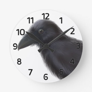 Young Raven Round Clock