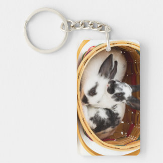 Young Rex rabbits in Easter basket 2 Keychains