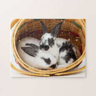 Young Rex rabbits in Easter basket 2 Puzzle
