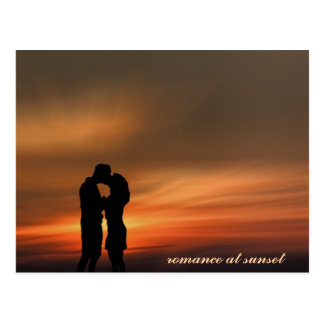 Young romantic couple at sunset, postcard