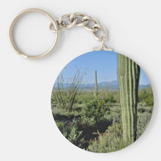Young Saguaro Cacti, Flowering Ocotillo flowers Keychains