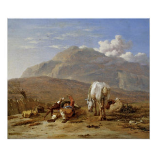 Young shepherd and dog. by Karel Dujardin Poster