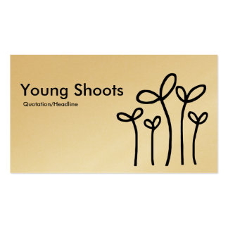 Young Shoots - Black on White (Gold) Business Card
