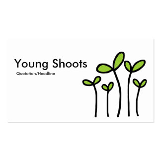 Young Shoots - Black With Martian Green on White Business Card