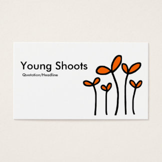 Young Shoots - Black With Orange on White Business Card
