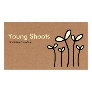 Young Shoots - Cream and Black on Cardboard Tex Business Card