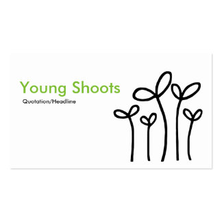 Young Shoots - Green with Black on White Business Card
