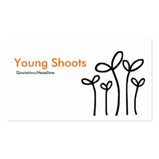 Young Shoots - Orange with Black on White Business Card