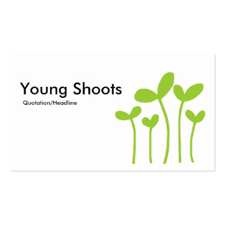 Young Shoots v2 - Black, White And Martian Green Business Card