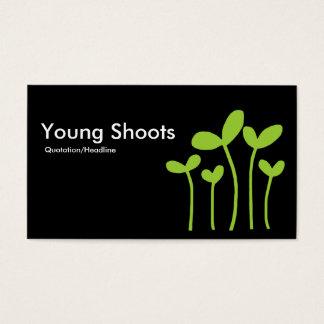 Young Shoots v2 - Martian Grn on Black (alt sides) Business Card