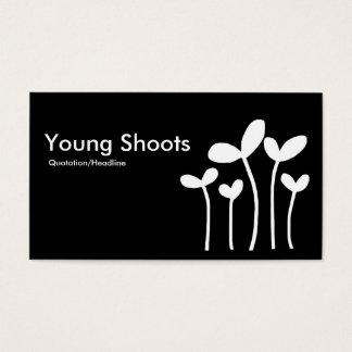 Young Shoots v2 - White on Black (alt sides) Business Card
