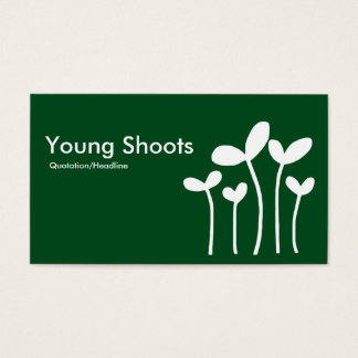 Young Shoots v2 - White on Grn 02481c (alt sides) Business Card