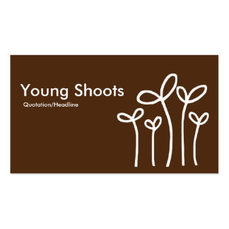 Young Shoots - White on Brown 4d2a10 (alt sides) Business Card