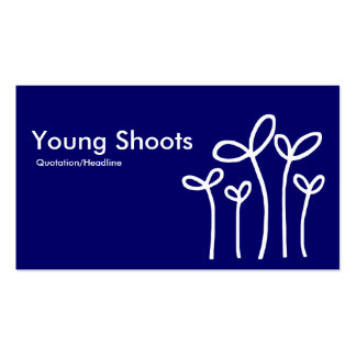 Young Shoots - White on Dp Navy (alt sides) Business Card