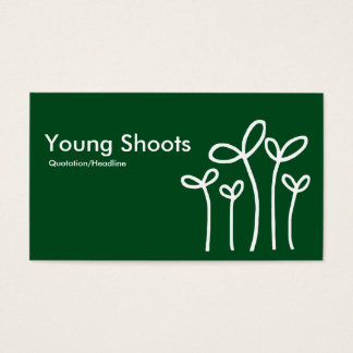 Young Shoots - White on Green 02481c (alt sides) Business Card