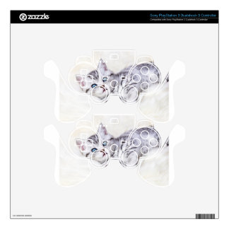 Young silver tabby spotted cat lying on sheep skin PS3 controller decal