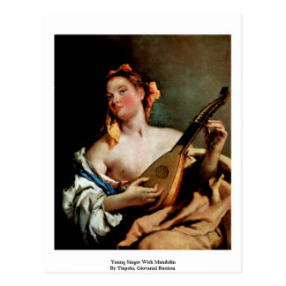 Young Singer With Mandolin Postcard