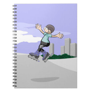 Young skate on wheels in the incline being notebook