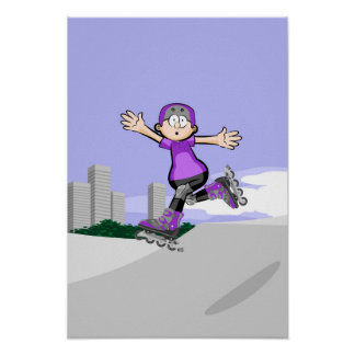 Young skate on wheels in the incline jumping poster