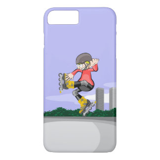 Young skate on wheels jumping in a foot iPhone 8 plus/7 plus case
