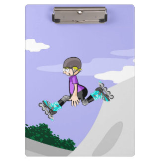 Young skate on wheels jumping in the incline clipboard