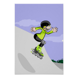 Young skate on wheels jumping in the incline poster
