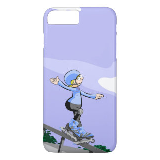 Young skate on wheels stopped in a railing iPhone 8 plus/7 plus case