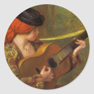 Young Spanish Woman by Renoir, Impressionism Art Stickers
