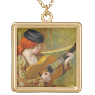 Young Spanish Woman with a Guitar, 1898 Square Pendant Necklace