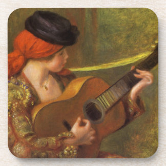 Young Spanish Woman with a Guitar by Pierre Renoir Beverage Coaster