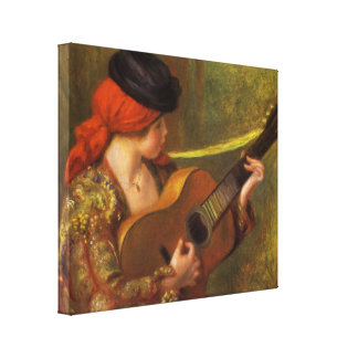 Young Spanish Woman with a Guitar by Pierre Renoir Canvas Print