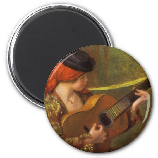 Young Spanish Woman with a Guitar by Pierre Renoir Magnet