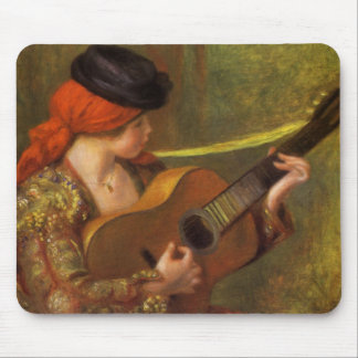 Young Spanish Woman with a Guitar by Pierre Renoir Mouse Pad