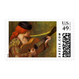 Young Spanish Woman with a Guitar by Pierre Renoir Postage