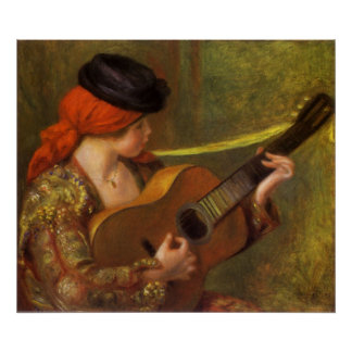 Young Spanish Woman with a Guitar by Pierre Renoir Poster
