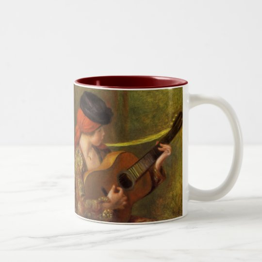 Young Spanish Woman with a Guitar by Pierre Renoir Two-Tone Coffee Mug