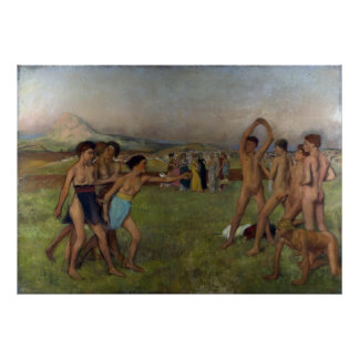 Young Spartans Exercising Poster