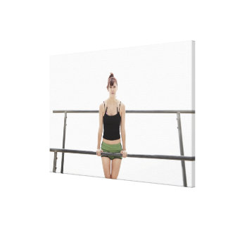 young sporty woman on a holm outside canvas print