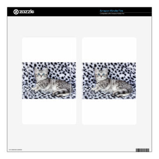 Young spotted cat  lying on black and white fur skin for kindle fire