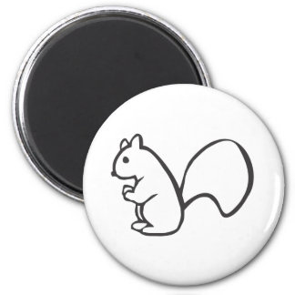 Young Squirrel in Black and White Sketch Fridge Magnet
