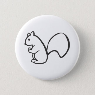 Young Squirrel in Black and White Sketch Pinback Button