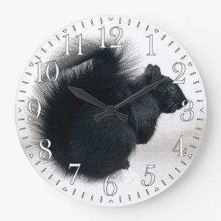 Young Squirrel in Winter Photo Large Clock