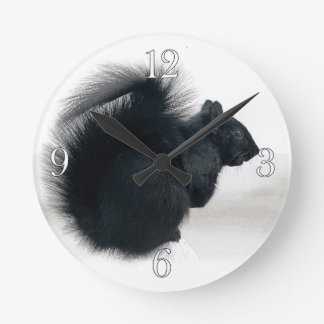 Young Squirrel in Winter Photo Round Clock