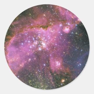 Young Stars Sculpt Gas Small Magellanic Cloud Classic Round Sticker