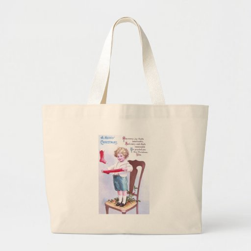 Young Stocking Stretcher Vintage Christmas Canvas Bags