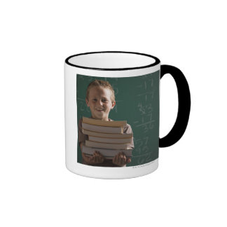 Young student in classroom ringer coffee mug