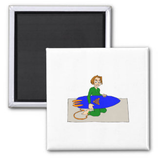 Young Surfer Boy 2 Inch Square Magnet