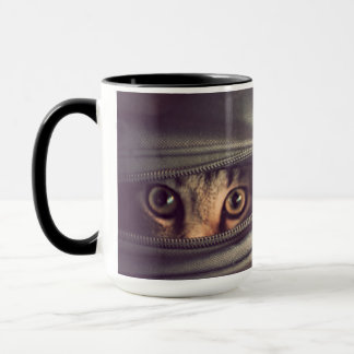 Young Tabby Kitten Looking Out From Zip Up Bag Mug