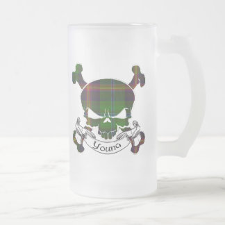 Young Tartan Skull Frosted Glass Beer Mug