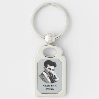 Young Tesla Silver-Colored Rectangular Metal Keychain